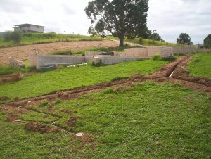 Trenches from the house with greywater pipes laid