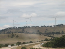 A windfarm breaking the Hume highway monotony