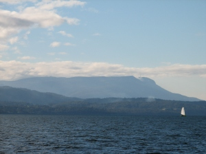 Looking up d'Entrecasteaux Channel towards Mt Wellington (Hobart)