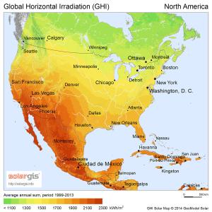 Solar insolation in north america